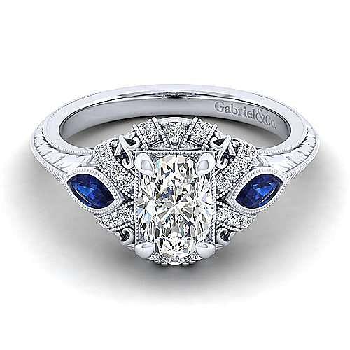 Gabriel - Lexington 14k White Gold Oval 3 Stones Halo Engagement Ring