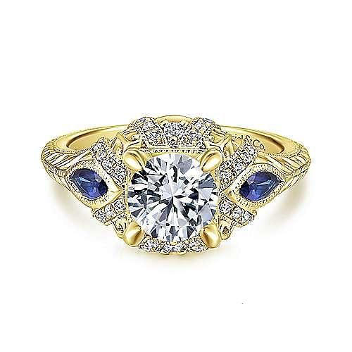 Gabriel - Lexington 14k Yellow Gold 3 Stones Halo Engagement Ring
