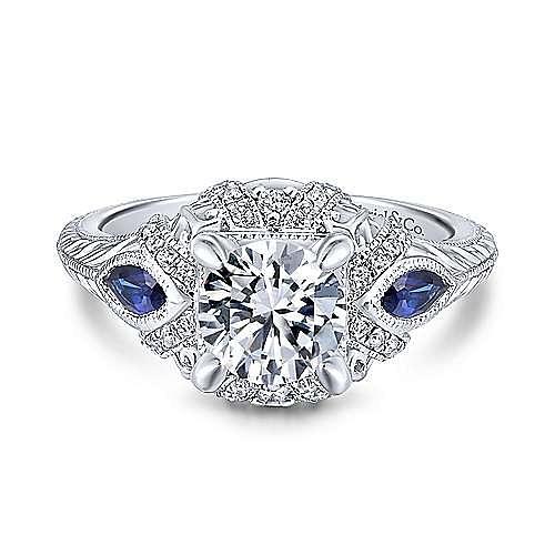 Gabriel - Lexington 18k White Gold Round 3 Stones Halo Engagement Ring