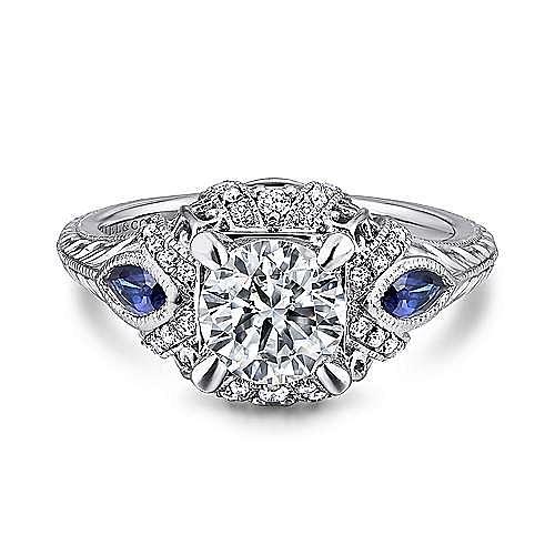 Gabriel - Lexington Platinum Round 3 Stones Halo Engagement Ring