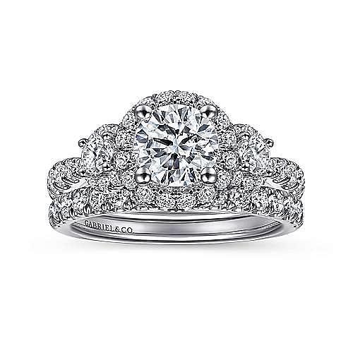 Liana 14k White And Rose Gold Round 3 Stones Halo Engagement Ring