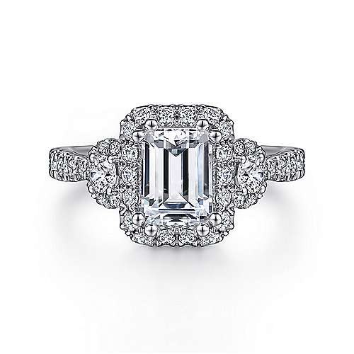 Gabriel - Liana 14k White Gold Emerald Cut 3 Stones Halo Engagement Ring
