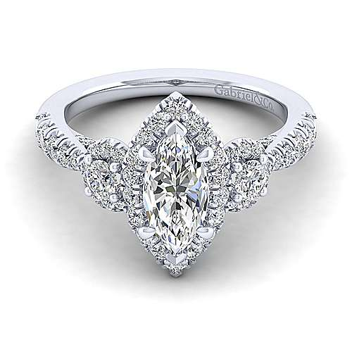 Gabriel - Liana 14k White Gold Marquise  Halo Engagement Ring