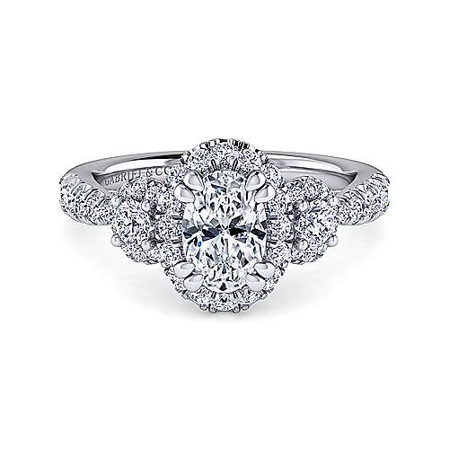 Gabriel - Liana 14k White Gold Oval Halo Engagement Ring