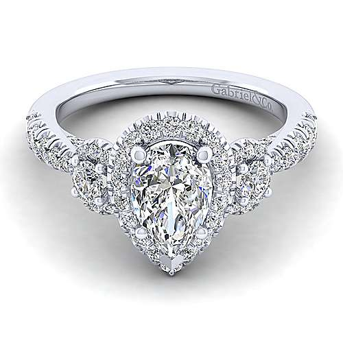 Gabriel - Liana 14k White Gold Pear Shape 3 Stones Halo Engagement Ring