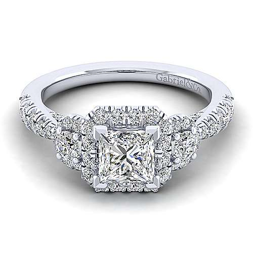 Gabriel - Liana 14k White Gold Princess Cut Halo Engagement Ring
