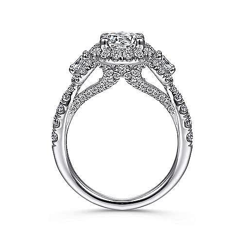Liana 14k White Gold Round 3 Stones Halo Engagement Ring angle 2