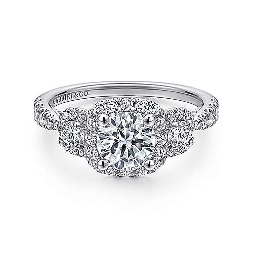 Gabriel - Liana 14k White Gold Round 3 Stones Halo Engagement Ring