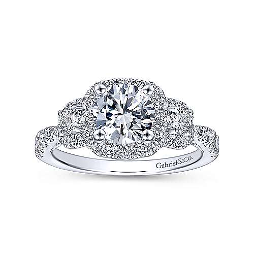 Liana 14k White Gold Round 3 Stones Halo Engagement Ring
