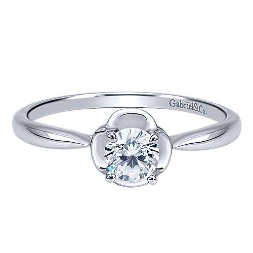 Libby 14k White Gold Round Solitaire Engagement Ring angle 1
