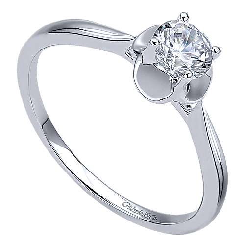 Libby 14k White Gold Round Solitaire Engagement Ring angle 3