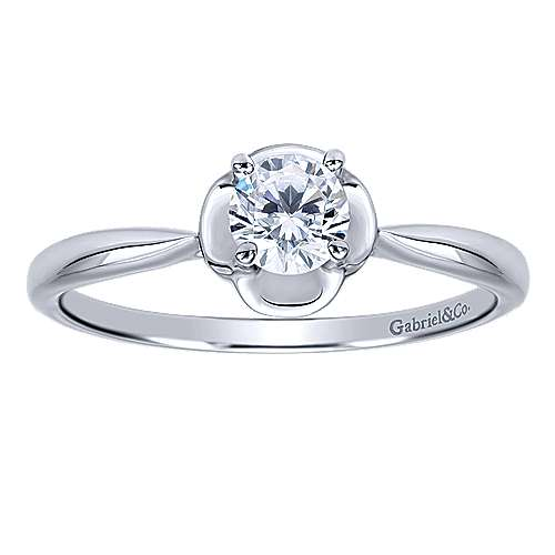 Libby 14k White Gold Round Solitaire Engagement Ring angle 5