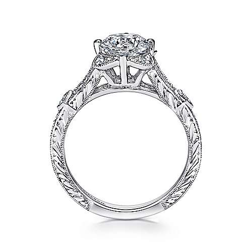 Liberty 14k White Gold Round Split Shank Engagement Ring angle 2