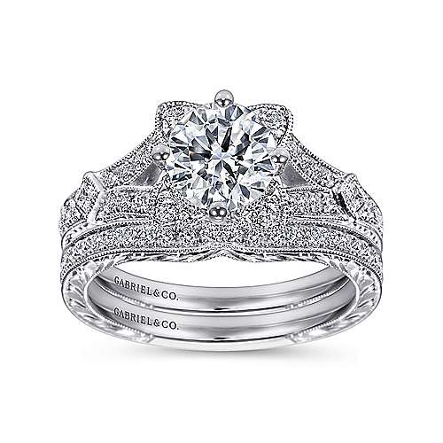 Liberty 14k White Gold Round Split Shank Engagement Ring angle 4