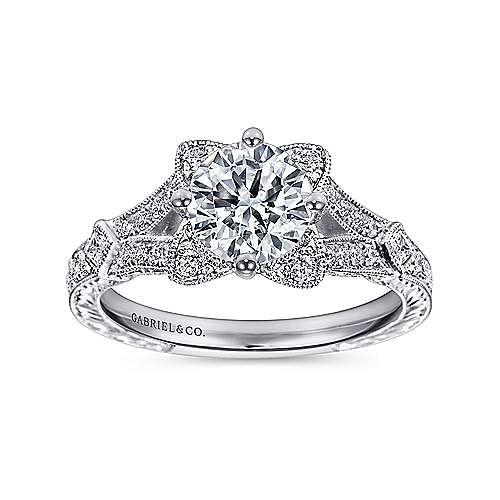 Liberty 14k White Gold Round Split Shank Engagement Ring angle 5