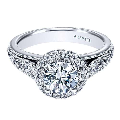 Lifetime 18k White Gold Round Halo Engagement Ring angle 1