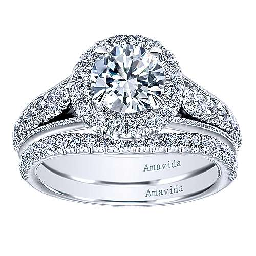 Lifetime 18k White Gold Round Halo Engagement Ring angle 4