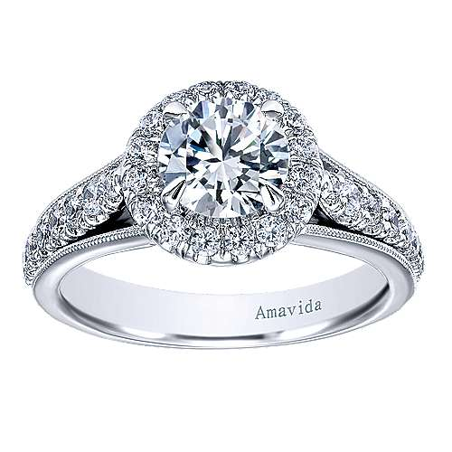 Lifetime 18k White Gold Round Halo Engagement Ring angle 5