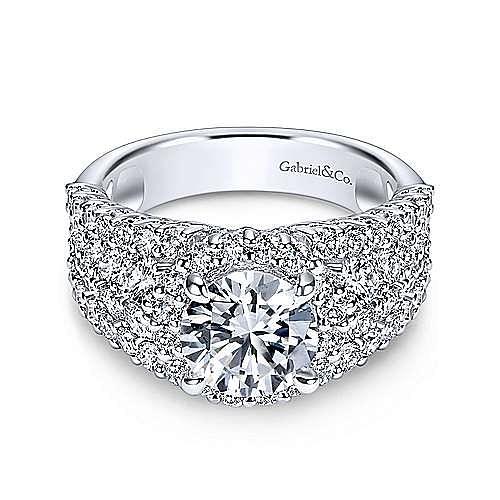 Gabriel - Light 14k White Gold Round Halo Engagement Ring