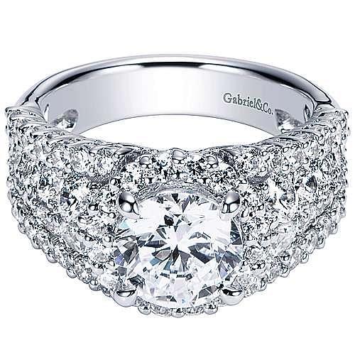 Gabriel - Light 18k White Gold Round Halo Engagement Ring
