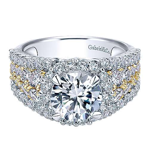 Gabriel - Light 18k Yellow And White Gold Round Halo Engagement Ring