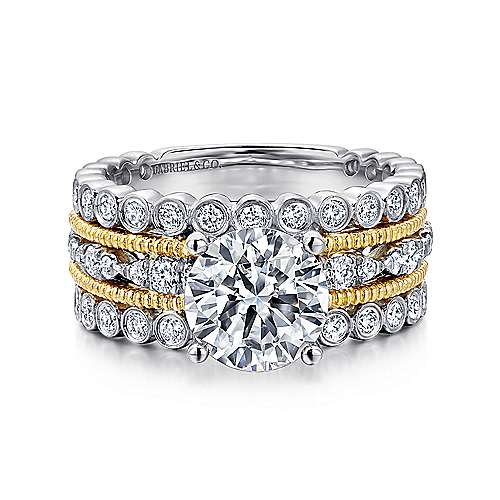 Gabriel - Lilith 18k Yellow And White Gold Round Straight Engagement Ring