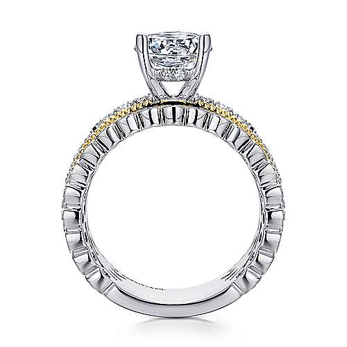 Lilith 18k Yellow And White Gold Round Straight Engagement Ring angle 2