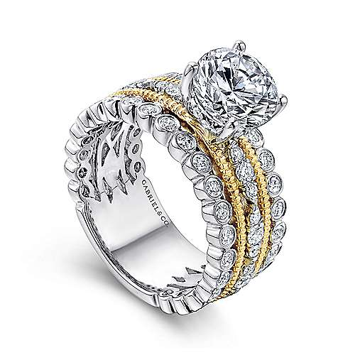 Lilith 18k Yellow And White Gold Round Straight Engagement Ring angle 3