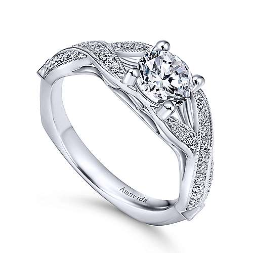 Lillian 18k White Gold Round Twisted Engagement Ring angle 3
