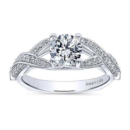 Lillian 18k White Gold Round Twisted Engagement Ring angle 5