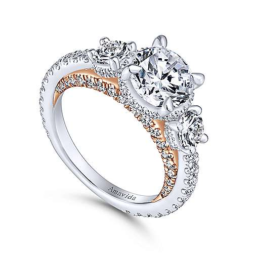 Lily 18k White And Rose Gold Round 3 Stones Halo Engagement Ring angle 3
