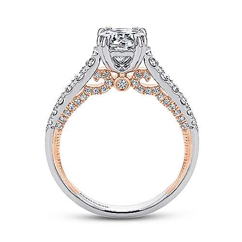 Lily 18k White And Rose Gold Round Straight Engagement Ring angle 2