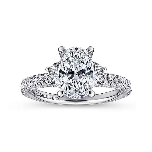 Lincoln 18k White Gold Oval 3 Stones Engagement Ring angle 5