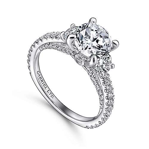 Lincoln 18k White Gold Round 3 Stones Engagement Ring angle 3