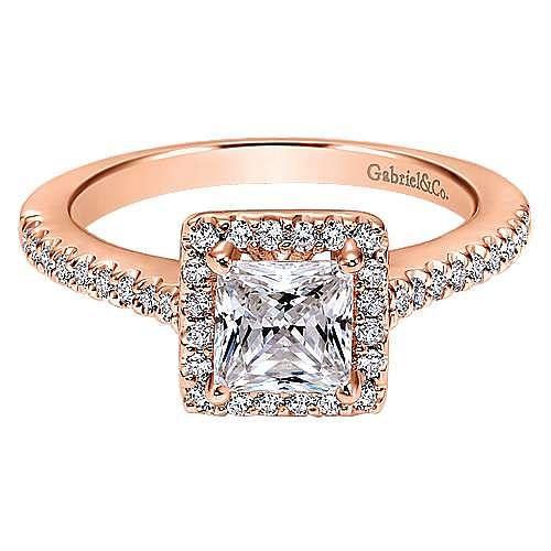 Gabriel - Lindsey 14k Rose Gold Princess Cut Halo Engagement Ring