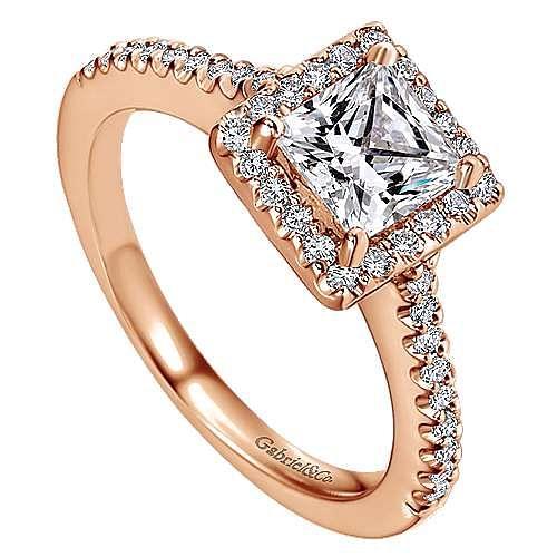 Lindsey 14k Rose Gold Princess Cut Halo Engagement Ring angle 3