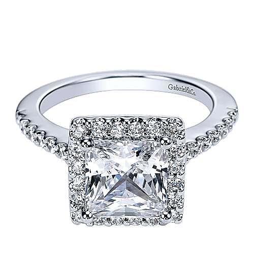 Gabriel - Lindsey 14k White Gold Princess Cut Halo Engagement Ring