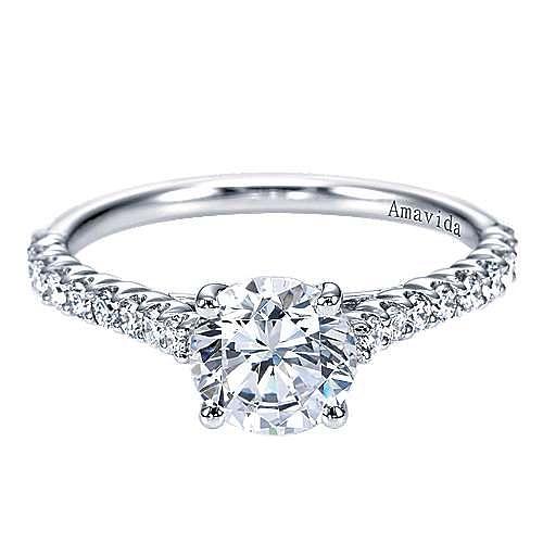 Gabriel - Linen 18k White Gold Round Straight Engagement Ring