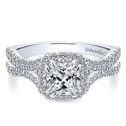 Gabriel - Linnea 14k White Gold Cushion Cut Halo Engagement Ring