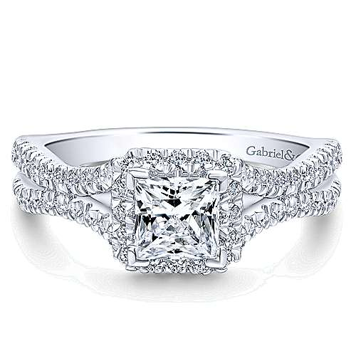 Linnea 14k White Gold Princess Cut Halo Engagement Ring angle 1