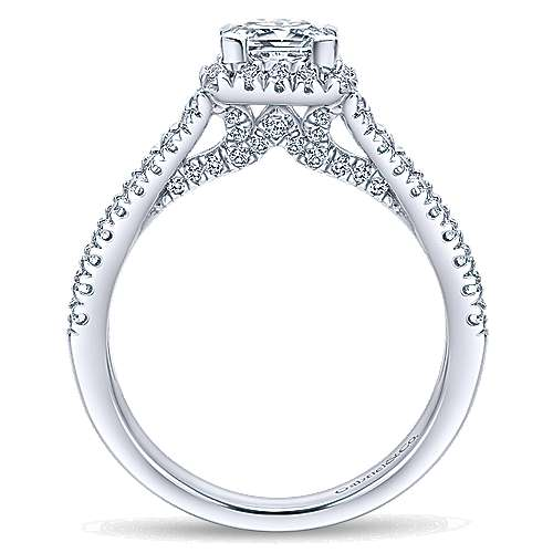 Linnea 14k White Gold Princess Cut Halo Engagement Ring angle 2