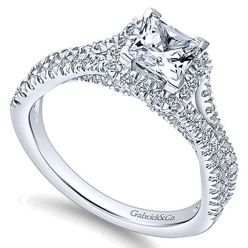 Linnea 14k White Gold Princess Cut Halo Engagement Ring angle 3