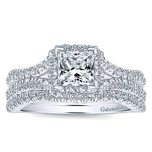 Linnea 14k White Gold Princess Cut Halo Engagement Ring angle 4