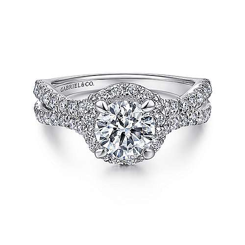 Gabriel - Linnea 14k White Gold Round Halo Engagement Ring