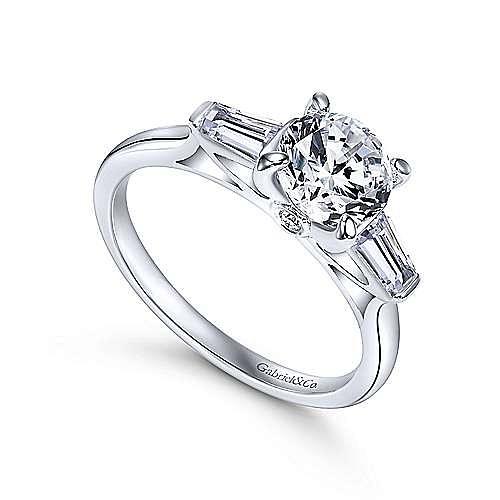 Lisbeth 14k White Gold Round 3 Stones Engagement Ring angle 3
