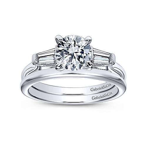Lisbeth 14k White Gold Round 3 Stones Engagement Ring angle 4