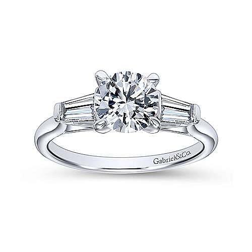Lisbeth 14k White Gold Round 3 Stones Engagement Ring angle 5