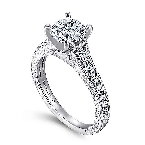 Lisette 14k White Gold Round Straight Engagement Ring angle 3
