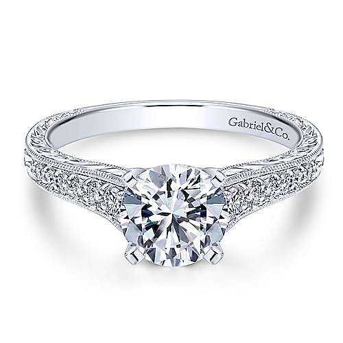 Gabriel - Lisette 14k White Gold Round Straight Engagement Ring