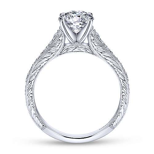 Lisette 14k White Gold Round Straight Engagement Ring angle 2